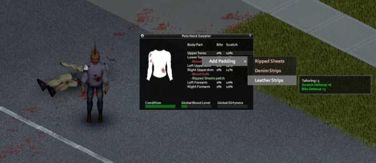 игрок добавляет подкладку к свитеру в Project Zomboid с помощью кожаных полос