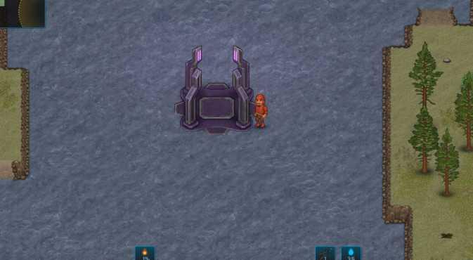 Игрок, стоящий рядом с телепортом в Cryofall