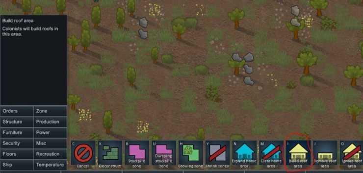 """Кнопка области """"Построить крышу"""" в пользовательском интерфейсе Rimworld."""