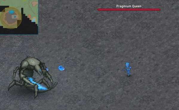 Борьба с королевой прагмиев с использованием прагмиевой брони в Cryofall