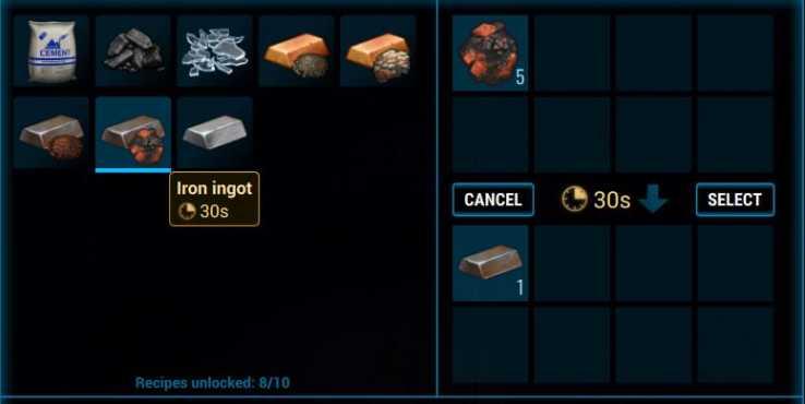 Изготовление слитка железа в печи в Cryofall