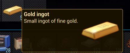 Внутриигровое описание золотого слитка в Cryofall