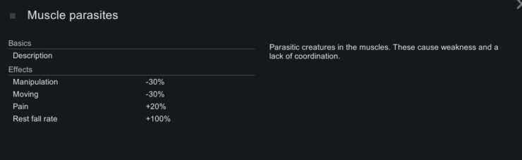 Внутриигровое описание мышечных паразитов в Rimworld.  На этом экране показаны негативные эффекты и следующий описательный текст: Паразитические существа в мышцах.  Это вызывает слабость и нарушение координации.