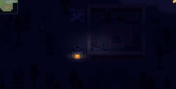 игрок стоит ночью возле горящей печи в Cryofall