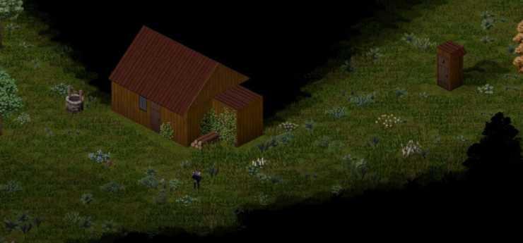 Хижина в лесу с колодцем в Project Zomboid