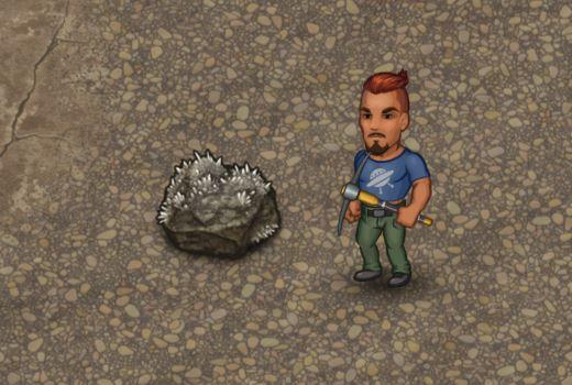 игрок, добывающий нитрат калия в Cryofall