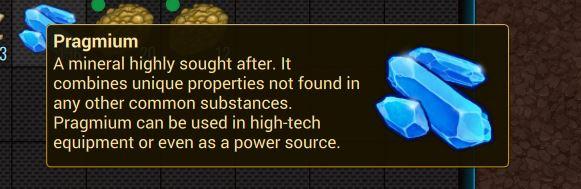 Внутриигровое описание Pragmium в Cryofall