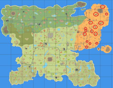 Карта расположения соляных квартир Cryofall