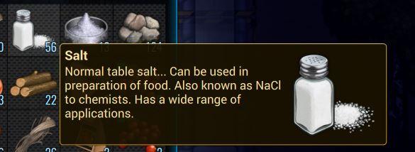 Всплывающая подсказка для соли в Cryofall