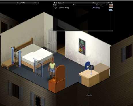 Персонаж Project Zomboid находит украшения в комоде.