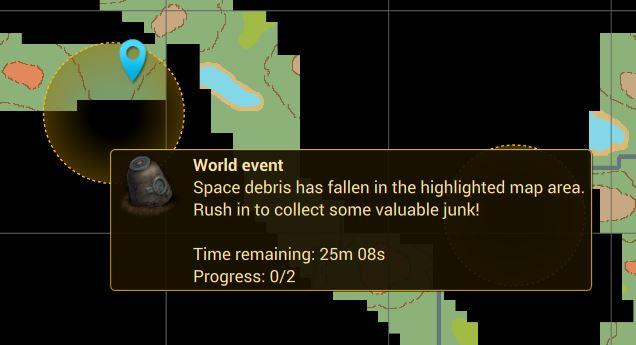 Мировое событие!  Сообщение о мировом событии Space Debris в Cryofall