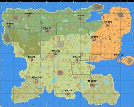 карта расположения инопланетных телепортов в Криофолле